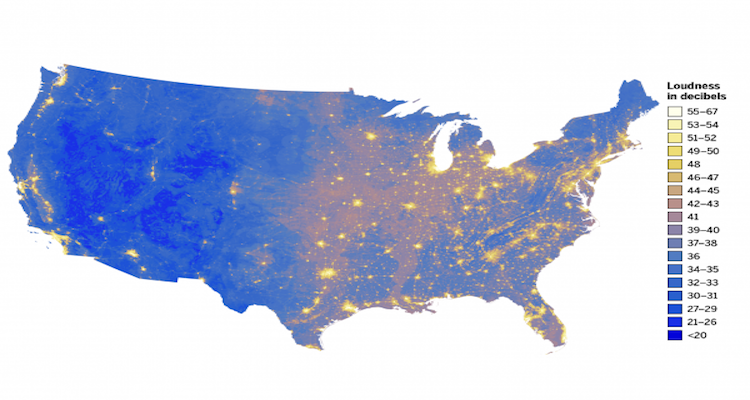 The Sound of Silence: A Noise Map of the U.S. - GIS Lounge